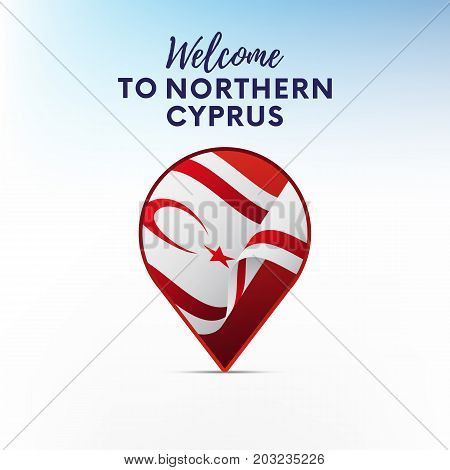 Flag of Northern Cyprus in shape of map pointer or marker. Welcome to Northern Cyprus. Vector illustration.