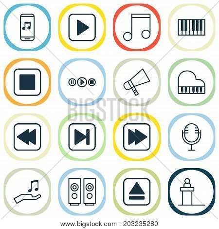 Music Icons Set. Collection Of Extract Device, Song UI, Rewind Back And Other Elements