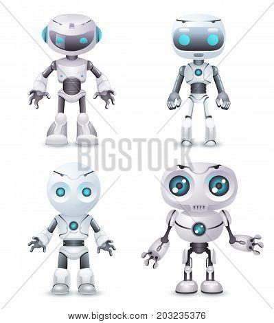 Robot innovation technology science future fiction cute little 3d design vector illustration