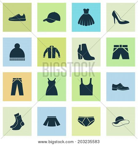 Clothes Icons Set. Collection Of Stylish Apparel, Beanie, Sneakers And Other Elements