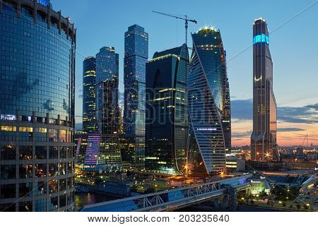 MOSCOW, RUSSIA - JUN 14, 2014: Cityscape of skyscrapers of Moscow City business complex. Moscow International Business Center Moscow City includes 20 futuristic buildings.