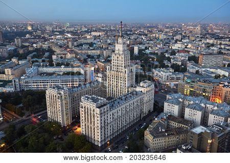MOSCOW, RUSSIA - JUL 17, 2015: The Red Gate Building is one of seven Stalinist skyscrapers, designed by Alexey Dushkin.