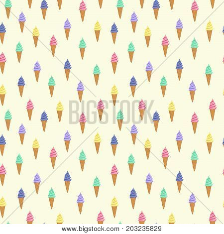Pattern of different ice cream cones in pastel colors. Set of ice-cream. Cute pattern with ice cream in a waffle cone.