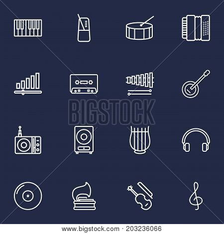 Collection Of Loudspeaker, Harmonica, Wooden Block And Other Elements.  Set Of 16 Music Outline Icons Set.