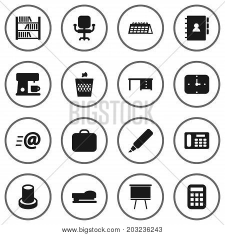 Collection Of Phone, Sew, Time And Other Elements.  Set Of 16 Bureau Icons Set.