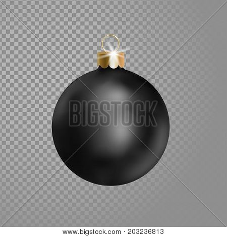 Matted black Christmas ball tree decoration. 3d realistic isolated on transparent background design element. New Year round adornment golden metallic hanging vector illustration art