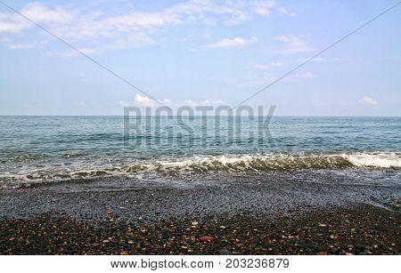 Sea coast in the evening. Black Sea