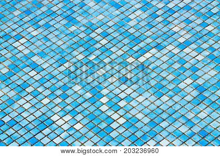 Close up of abstract blue tiles background