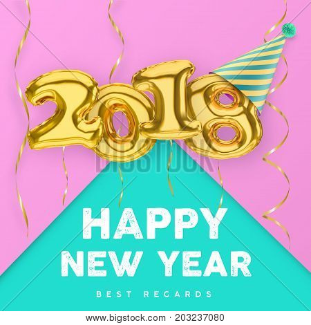 2018 3D Happy New Year with gold balloon numbers isolated on pink-green background with party hat and streamers.