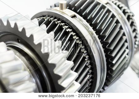 Steel gears and rolling bearing. Gear. Abstract industrial background.