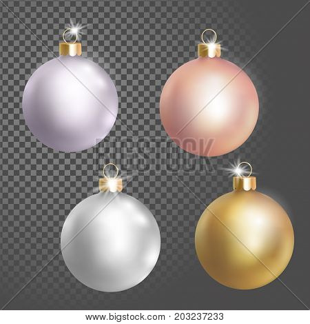 Collection of Christmas ball tree decoration white silver rose gold delicate color. 3d realistic isolated on transparent background design element. New Year round metallic golden hanging vector illustration art