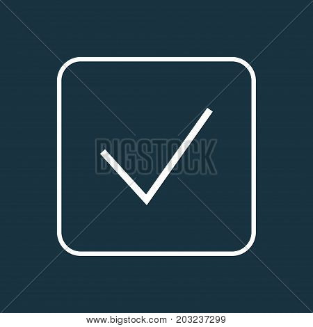 Premium Quality Isolated Checkmark Element In Trendy Style.  Done Outline Symbol.