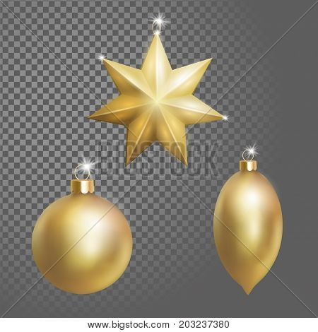 Collection of Christmas ball tree decoration gold round star and oval shape. 3d realistic isolated on transparent background design element. New Year round metallic golden hanging vector illustration art