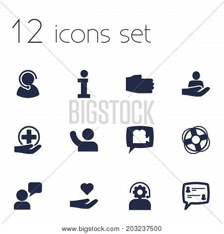 Collection Of Hand, Human , Assistant Elements.  Set Of 12 Maintenance Icons Set.