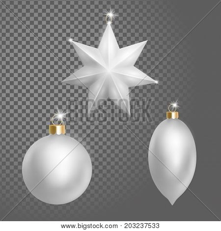 Collection of Christmas ball tree decoration white silver round star and oval shape. 3d realistic isolated transparent design element. New Year round metallic golden hanging vector illustration art