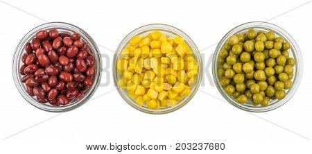 Bowls With Red Beans, Sweet Corn And Green Peas