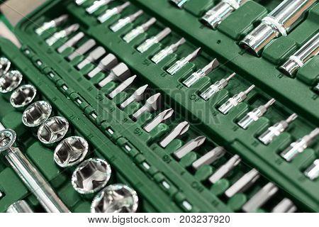 Set of tools for car repair in box, top viewA set of wrenches in a plastic box. A set for car repair. Close-up photo.