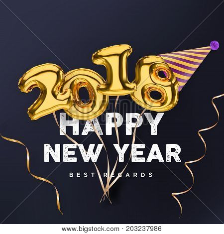 2018 3D Happy New Year gold vector banner isolated on black background with party hat and streamers.