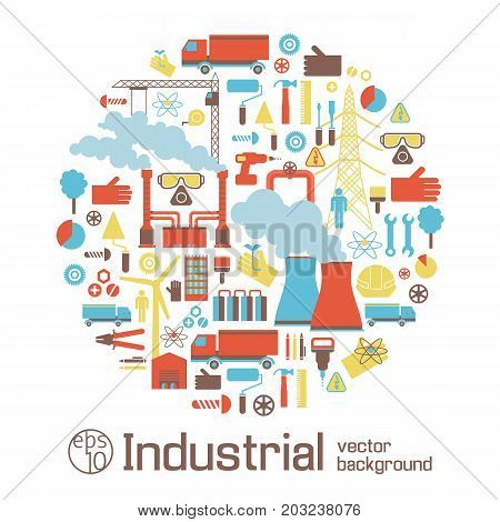 Industrial conceptual background with smoking pipes elevating crane trucks and  engineering tools flat vector illustration