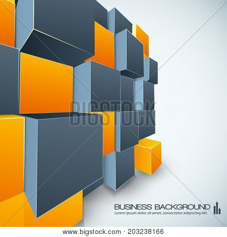 Isometric poster modern design with prospect view of orange and grey cubes geometric construction vector illustration