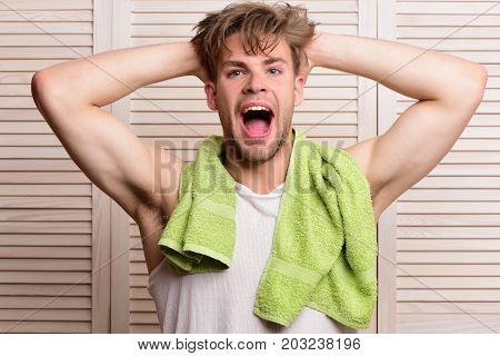 Athlete With Strong Muscles After Morning Shower. Morning Exercises Concept