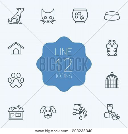 Collection Of Dog, Aquarium, Bird Prison And Other Elements.  Set Of 12 Mammal Outline Icons Set.