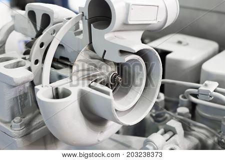 The car turbocharger. Turbocharging of an automobile engine.