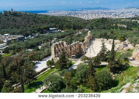 cityscape of Athens of Herodes Atticus amphitheater of Acropolis, Athens, Greece