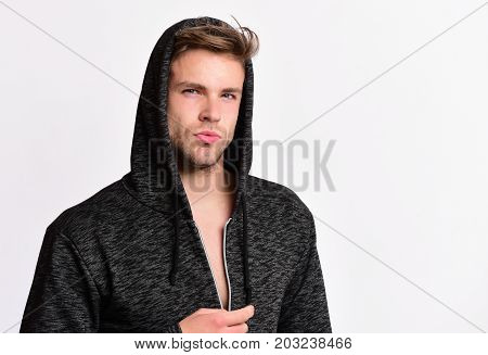 Man Wears Dark Grey Sweater Or Hoodie. Fashion And Sport