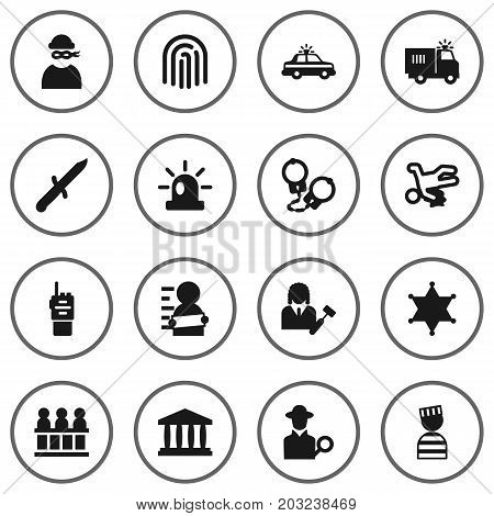 Collection Of Signal, Thumbprint, Manacles And Other Elements.  Set Of 16 Crime Icons Set.