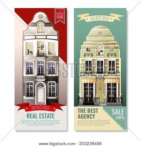 Vertical banners with old european facade houses as advertising of real estate agency isolated vector illustration