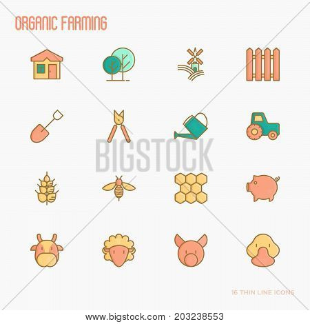 Organic farming thin line icons set of animals, tools and symbols for eco products, farming flyers and banners. Agriculture vector illustration.