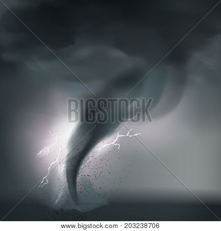 Tornado composition with bad rough weather fulmination realistic grogs thunder firestorm and bolt of lighting vector illustration