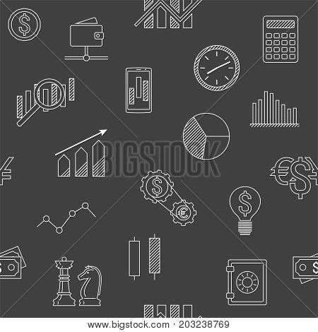 Seamless background of stock forex icons. Finance exchange investing icon background. Money income trade. Vector illustration