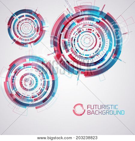 Modern virtual technology background with three isolated futuristic decorative circles round elements of touch user interface vector illustration