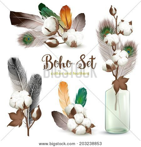 Boho style decorations with ripe cotton plant bolls colorful feathers glass bottle realistic compositions collection vector illustration