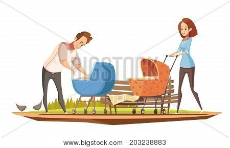 Parenthood duties retro cartoon poster with mother and father with 2 babies in prams outdoor vector illustration