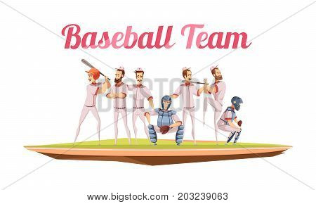 Baseball team retro composition with athletes in uniform and helmets holding baseball bats flat cartoon vector illustration