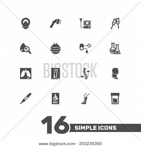 Collection Of Flask, Urine Tester, Spine And Other Elements.  Set Of 16 Medical Icons Set.
