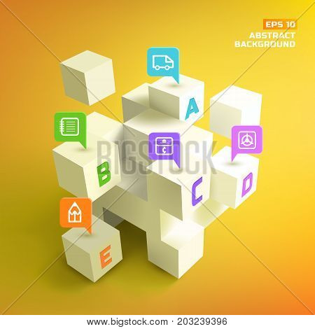 Latin letters at 3d white cubes and colorful business pointers with icons on yellow background vector illustration