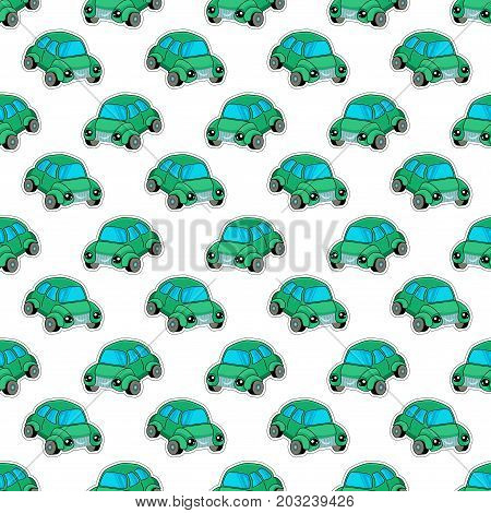 Cute kids pattern for girls and boys. Colorful car, auto on the abstract bright background create a fun cartoon drawing.The background is made in blue colors.Urban backdrop for textile and fabric.Childish pattern. White background pattern. Green car patte