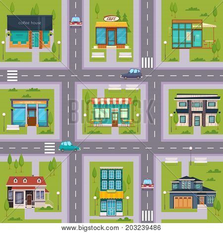 Suburb streets regular rectangular square seamless map pattern with cafe bistro restaurants house blocks flat vector illustration