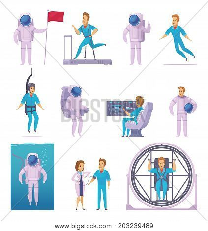 Astronaut space mission cartoon icons set with medical examination training in spacesuit with flag isolated vector illustration