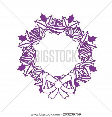 silhouette christmas wreath garland with christmas design vector illustration