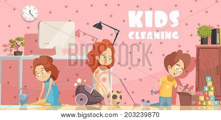 Little children cleaning living room retro cartoon poster with sweeping floor ordening toys and vacuuming vector illustration