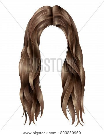 Trendy female dark long hairs with parted in middle, wavy strands on white background isolated vector illustration
