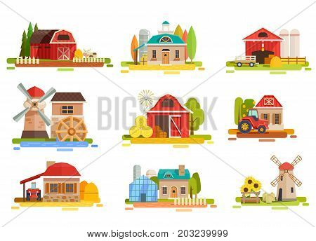 Farm flat collection with doodle style scenery images of mill facilities haymows warehouse and agrimotors vector illustration