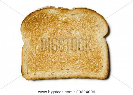 Fresh slice of light sourdough toast on a white background