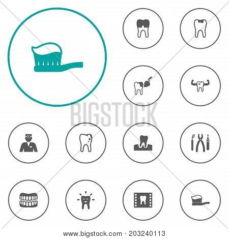 Collection Of Instruments, Gingivitis, Toothpaste And Other Elements.  Set Of 12 Dentist Icons Set.