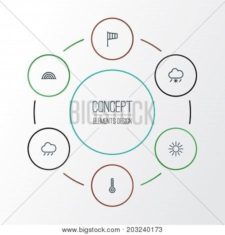 Climate Outline Icons Set. Collection Of Sun, Windsock, Rain And Other Elements
